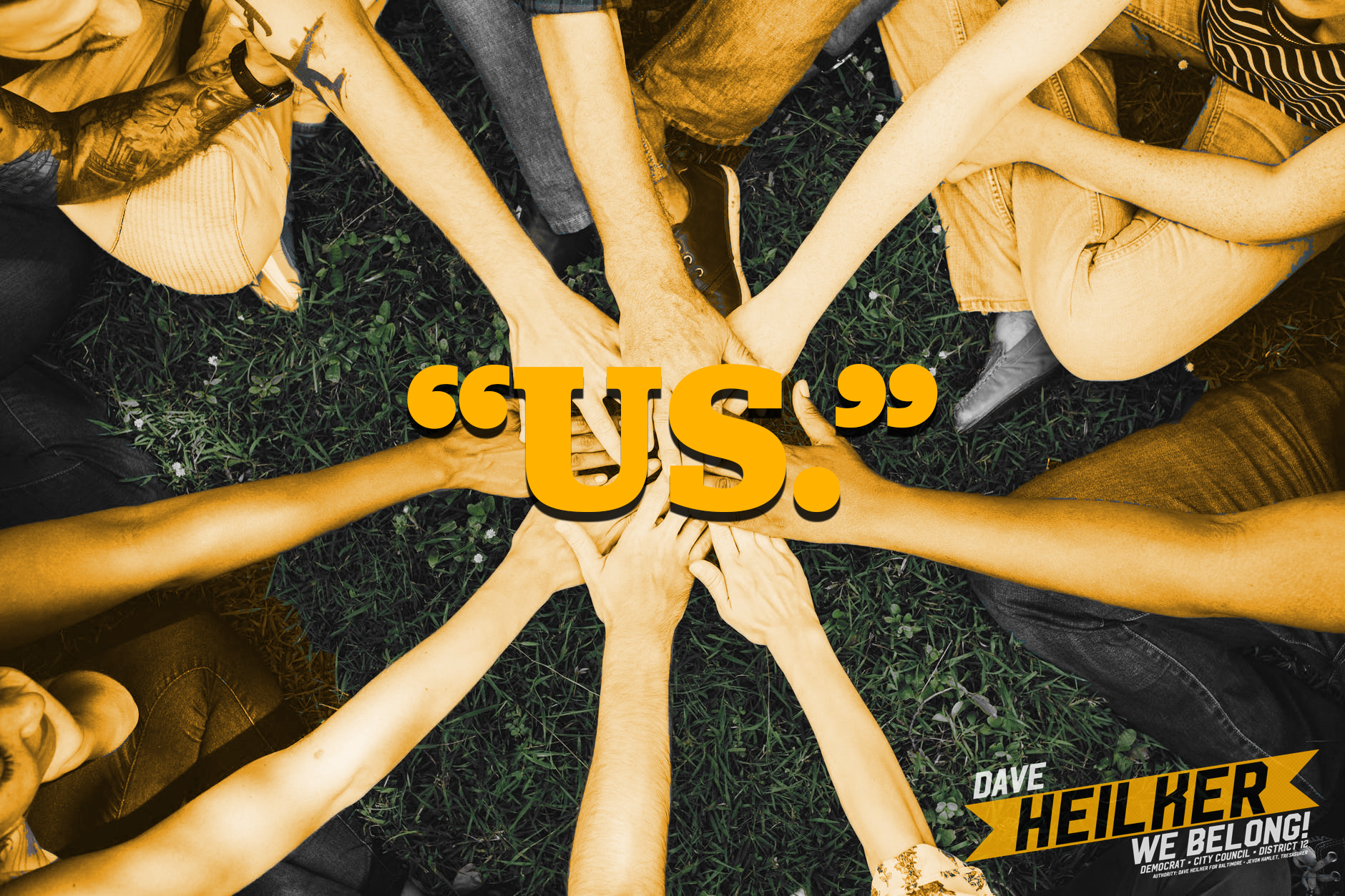 "team hands with word ""us"" superimposed."